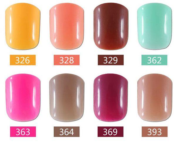 Uñas postizas Nail Fake Pure 86 colores Flash Powder 24 piezas de largo Full Cover 100 unids / set Manicura Salon Salon DIY Art Tips Belleza