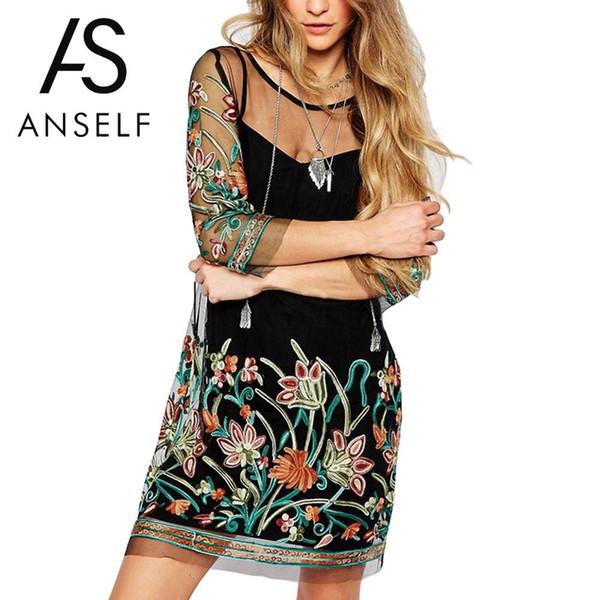 Korean Fashion Plus Size 3XL 4XL 5XL Summer Dress Women Sexy Mini Slip Dress Flower Embroidery Sheer Mesh EleClubwear