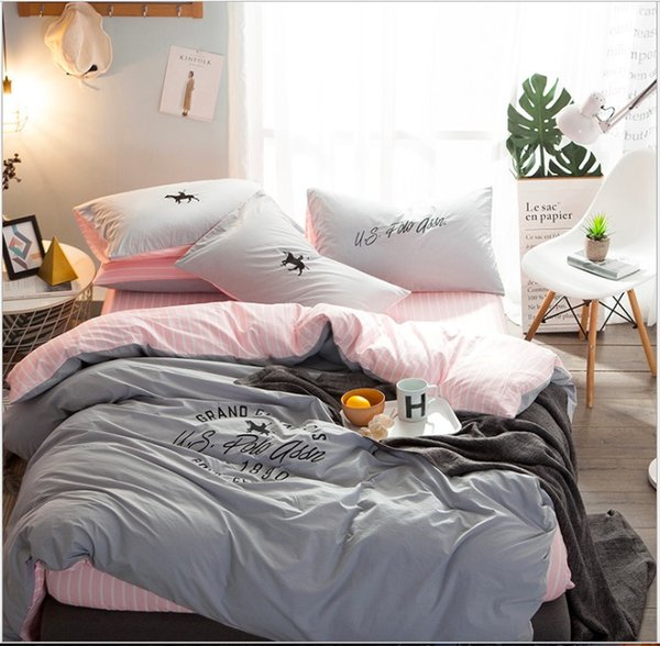 100% algodão estilo simples quatro pcs conjuntos de cama de alta qualidade capa de edredão lençol família têxtil de casa presente de Natal