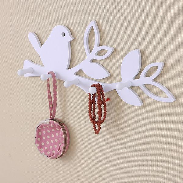 Bird/love DIY wood decorative wall hooks for hanger storage rack organizer shelf key holder for coat clothes home decor