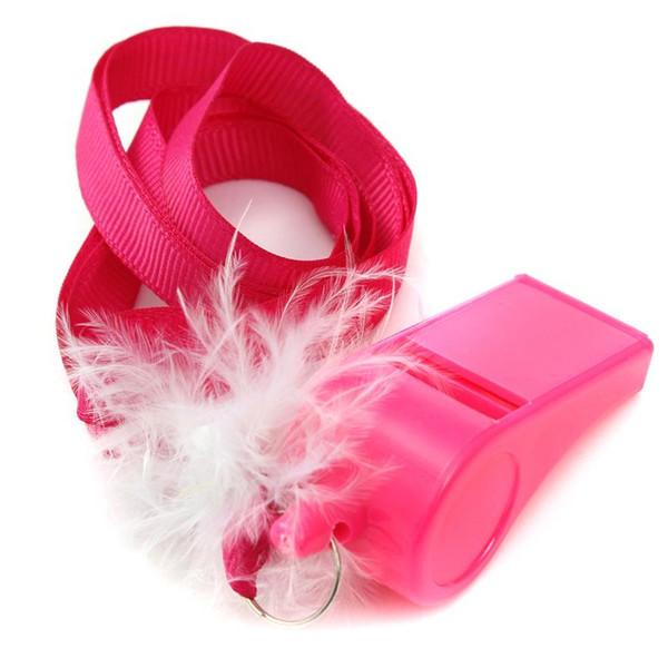 10 pcs / lot Hot Pink Hen Party Jeu Fluffy Whistles avec sangle Bachelorette Party Girls Night Out Décoration Faveur Cadeaux