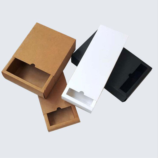 10 pcs kraft Paper Cardboard Drawer Boxes DIY Black White Brown Drawer Candy Box Small Wedding Gift Box For Guest