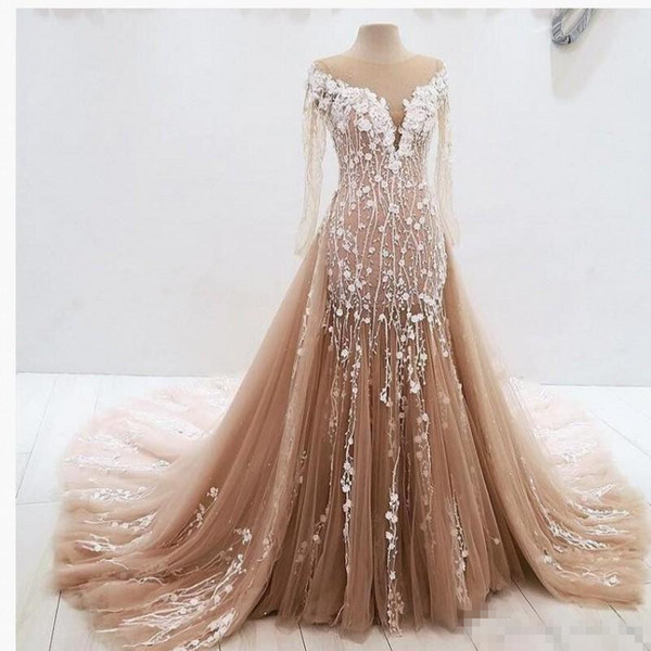 2018 Real Image Overskirts Prom Party Dresse With Sheer Neck Appliques Sheath Illusion Long Sleeves Lace Appliques Count Train Evening Gown