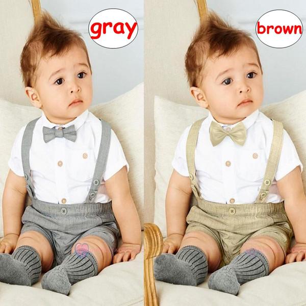 Gentleman Boy Vêtements Ensembles INS enfants chemise à manches courtes shorts à bretelles Outfit Enfants Printemps Eté tissu