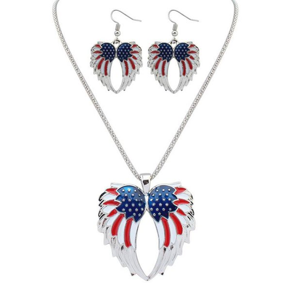 12Sets USA Enamel Angel Wing Jewelry Sets For Girls Gift Gold Plated Flag Angel Wings Necklace Earring Set Vintage Ethnic Jewelry