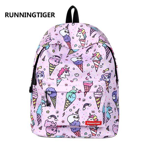 RUNNINGTIGER Children Backpacks Ice Cream Unicorn Women Original Bag School Bagpack For Teenage Girls feminina