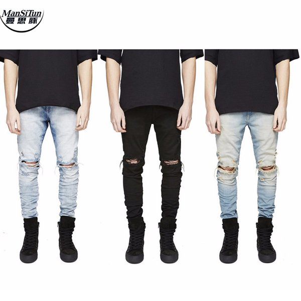 Shredded jeans The Latest Destroyed pants spring and autumn designer fashion denim jumpsuit destroyed ripped distressed jeans
