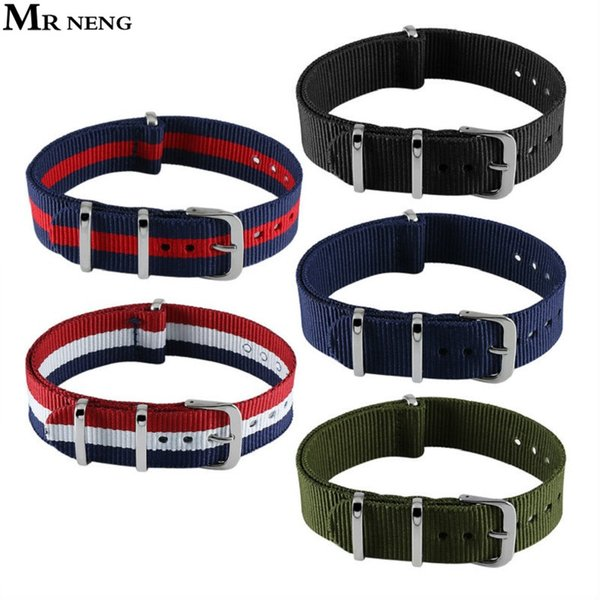 Hot Activity !! Top Quality 12mm 14mm 16mm 18mm 20mm 22mm Navy White Red Diver 3 Keepers NATO Waterproof Nylon Strap Watch Band
