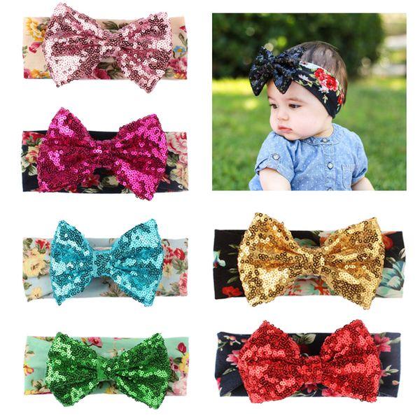 Newborn Infant Baby Girl Headband Toddler Bow Hair Band Girls Accessories sequin