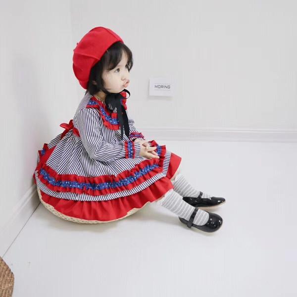 Детские девушки платье принцессы Кружева нашивки Дети платье партии 2018 осень моды с длинным рукавом тягучий зальбанд детей День рождения платья Y668