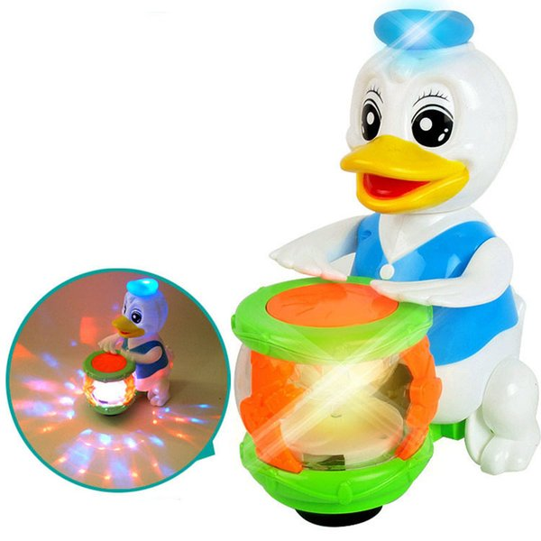Children cartoon Flash of light Musical Instruments Electric Duck Shaking head Beat Drum Music Toys Baby Early Educational Toy