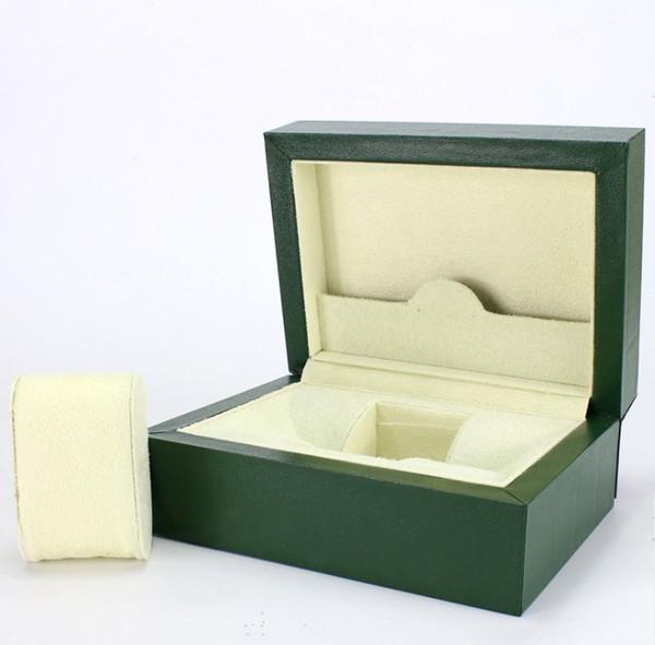 Reloj de lujo de la marca de fábrica del reloj de la alta calidad Reloj de la caja de cuero verde de la PU de la alta calidad Reloj de pulsera de la caja de madera real de la caja del reloj de Rolex