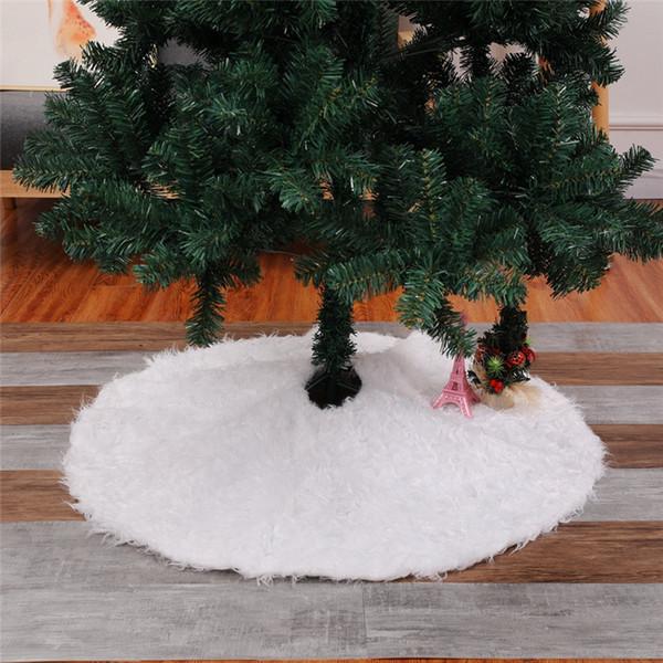 Jupe de sapin de Noël ronde blanche en fausse fourrure 48 pouces de diamètre - Décor d'arbre de Noël en fausse peau de mouton shaggy