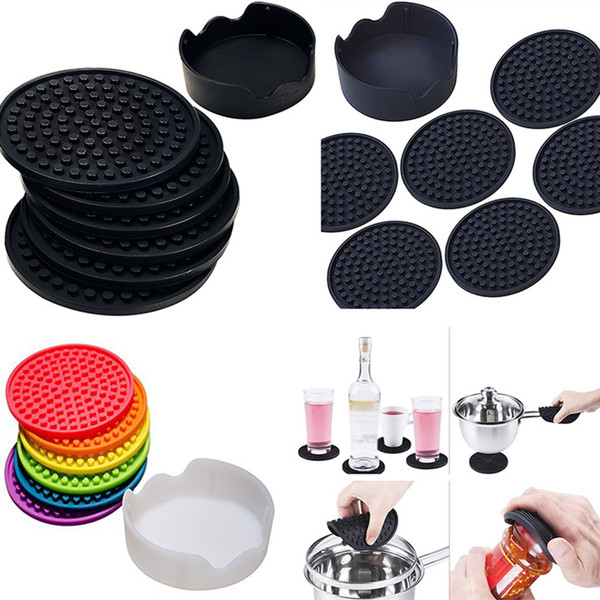 Silicone Coaster Mats Set Table Cup Pot Mat Pads In Holder Home Decor For Water Marks And Damage Kitchen Bar Tool In Black 6pcs/Set HH7-1322