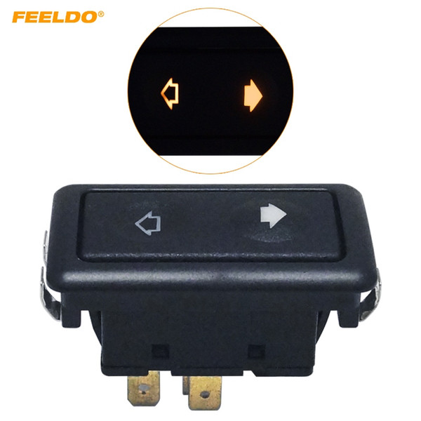 top popular FEELDO Universal Metallic Snap Clip-On 6Pins Auto Power Window Switch 12V 24V 10A~30A With illumination Indicator Single Button #5797 2021