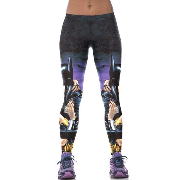 Lady Esporte Leggings Batman 3D Digital Completo ImpressoPrimavera Verão Calças de Outono Meninas Calças de Ginástica Mulher Lápis de Treino Macio ajuste (RLAslgs0044)