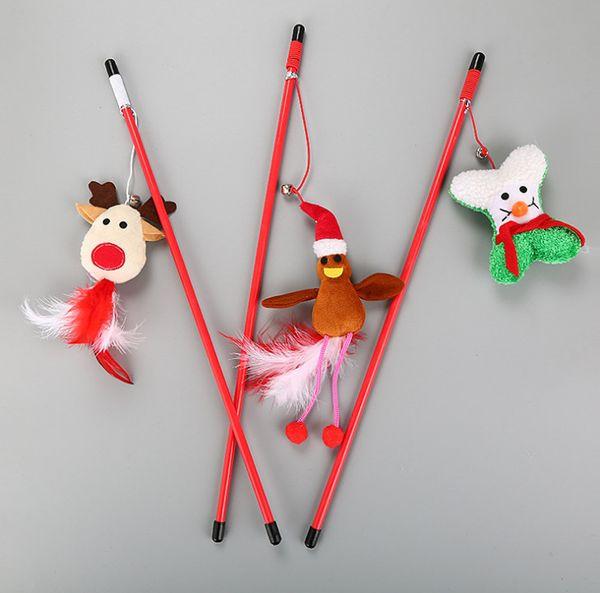 Free shipping Xmas cat kitten toys playing toys snow deer Santa Claus cat teaser fishing poles
