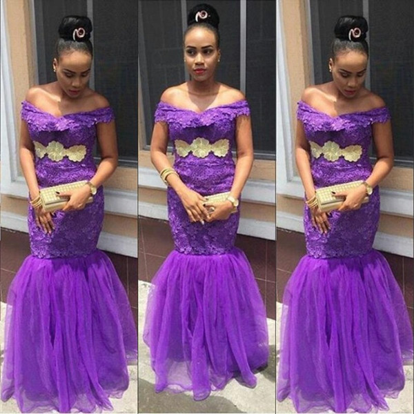 Fashion Off Shoulder Prom Dresses Purple Lace Appliques Sleeveless Mermaid Prom Dress 2018 Aso-Ebi Style Sexy Party Gown Formal Dress Cheap