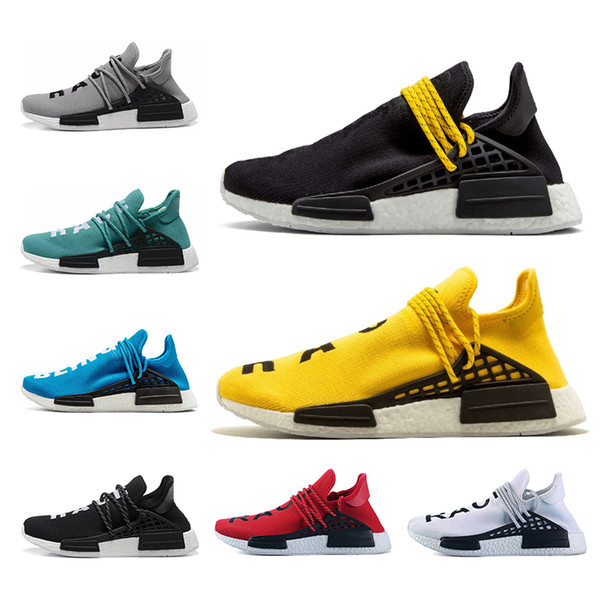 bon marché Pharrell Williams Hu trail course humaine jaune noir blanc rouge gery bleu vert Hommes Chaussures de course chaussures de sport taille 36