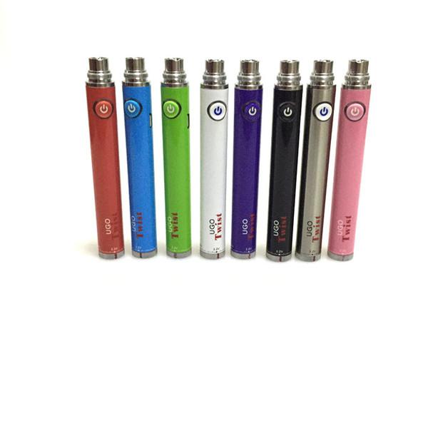 UGO Twist Batería Voltaje variable Vape Pen 650 900mAh Twist evod Batería Micro USB Paso a través para batería de 510 hilos Vaporizador Atomizador