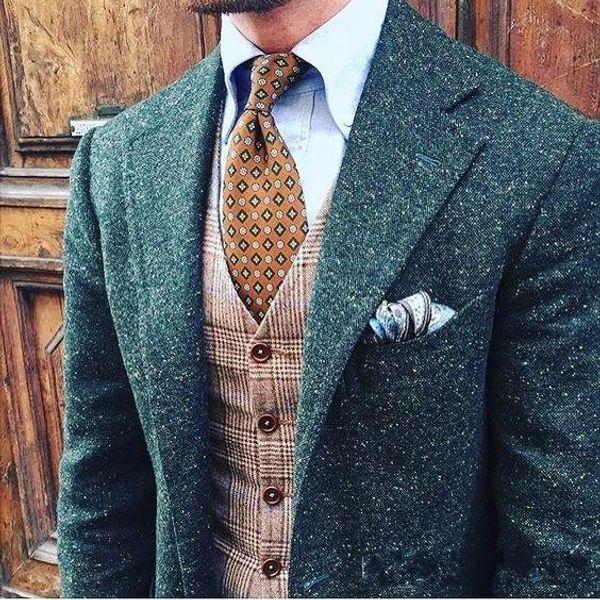 Inverno Moda Blu Donegal Tweed Smoking dello sposo Notch Risvolto One Button Uomini Smoking da smoking Uomini Dinner Party Suit (Jacket + Pants + Tie + Vest) 1907