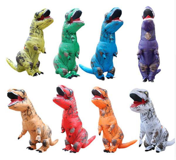Adulto T-REX Traje Inflável Animal De Dinossauro de Natal Macacão Halloween Traje para As Mulheres Homens WSJ-25