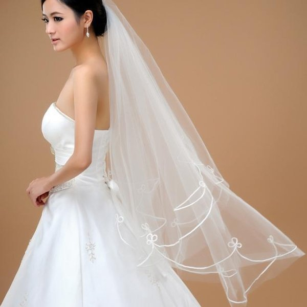 Free Shipping In Stock Wedding Veils Long Applique Bridal Wedding Accessories Cheap Elbow Length White Party Bride Wedding Bridal Veil