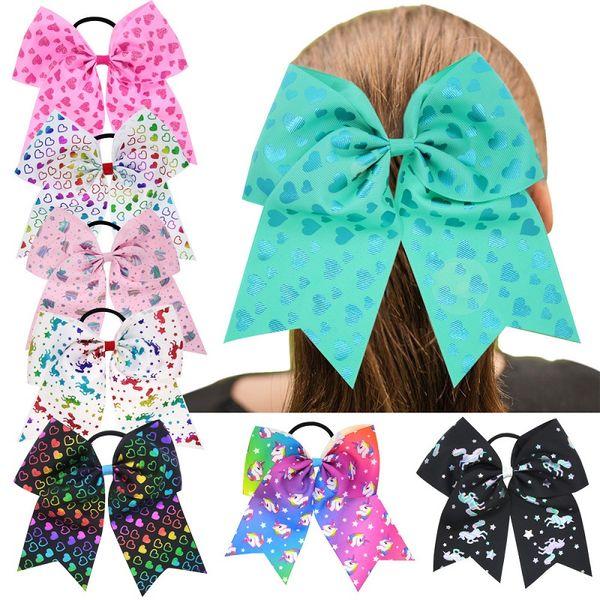 30 Pcs 7 Inch Unicorn Heart Print Cheerleading Ribbon Bows Cheer Bows Tie With Elastic Band/Girls Rubber Hair Band Beautiful HuiLin DW83