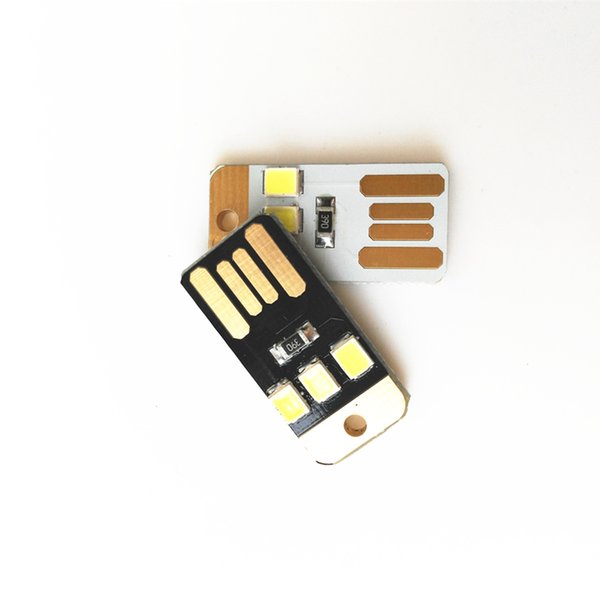 LED Night Lamp 2835 SMD Mini Pocket Card USB Power 3 LED Keychain Night Light 0.2W 5V White Light for Power Bank Computer Laptop