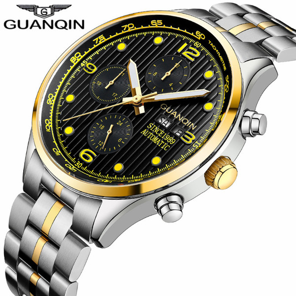 7302f42a1 relogio masculino GUANQIN Brand Luxury Men Automatic Date Luminous Clock  Men's Business Full Steel Waterproof Mechanical