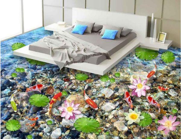 Personnaliser 3d plancher Lotus étang clair de lune étang wallpap peintures murales pour livin marié salle de bain 3d stéréoscopique wallpaperer 3d