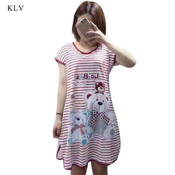 Womens Sweet Girl Lounge Nightdress Cute Cartoon Bear Sleepshirt Short Sleeve Striped Plus Size Oversized Home Clothing Sleepwea