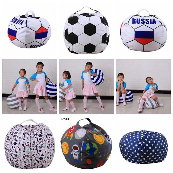26inch 66cm Stuffed Animal Storage Bean Bag 43 Styles Football World Cup Chair Portable Kids Toy Storage Bag Play Mat Clothe Home Organizer