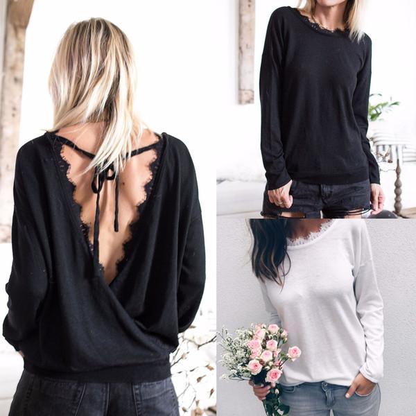 2018 Dantel Bluz Gömlek Kadın 2018 Sonbahar Bluzlar Uzun Kollu Hollow Out Geri Casual Bluzlar Chemise Kadın Gömlek FS5810 Tops