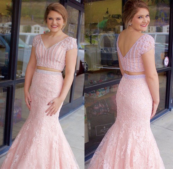 JaneVini Two Piece Prom Dresses 2018 Pink Lace Mermaid Beaded V-Neck Girls Evening Party Dress Sexy Floor Length Gowns Formal Wear