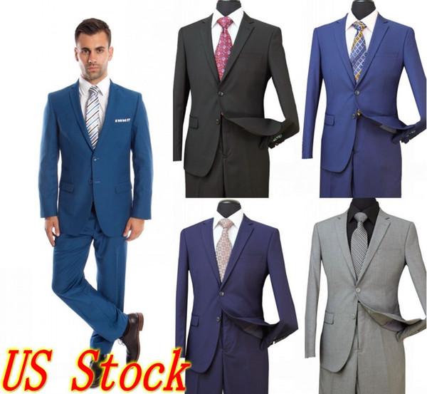 Novios Esmoquin Padrinos de boda French Blue Side Vent Slim Trajes Slim Fit Best Man Suit Boda / Trajes de hombre Novio Novio (chaqueta + pantalón) ST002