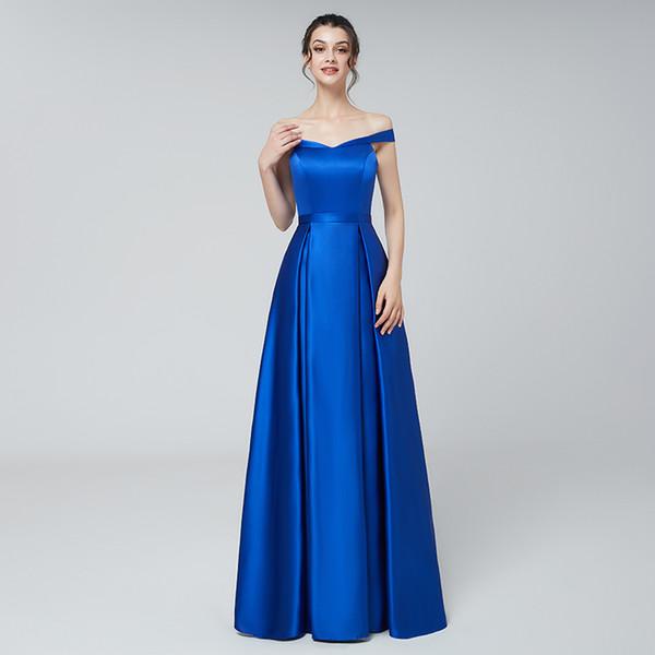 Cheap Plus Size Elegant Evening Formal Dresses 2019 Royal Blue Floor Length  Off Shoulder V Neck Long Prom Party Gowns Real Picture Plus Size Bolero ...