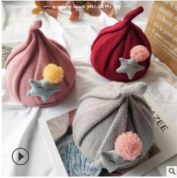 Kids flowers hats babys wool knitting small animal hats princess autumn winter keep warm caps kids photography props 173