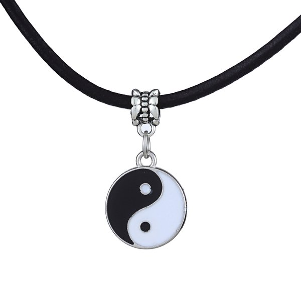 Wholesale-Vintage Stainless Steel Yin Ying Yang Pendant Necklace Black White Necklace Men PU Leather Necklaces Jewelry