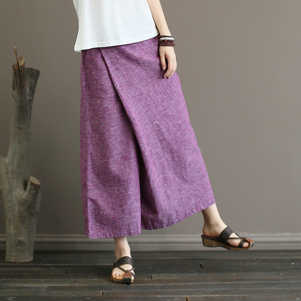 Johnature Solid Color Elastic Mid Waist New Skirt Pants 2018 New Summer Vintage Loose Cotton Linen Ankle-Length Wide Leg Pants S18101606