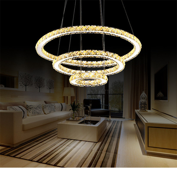 Modern Simple Art Ring LED Crystal Pendant Lamp Luxury Stainless Steel Adjustable Shape Lamp Fixture for Living Room Lobby