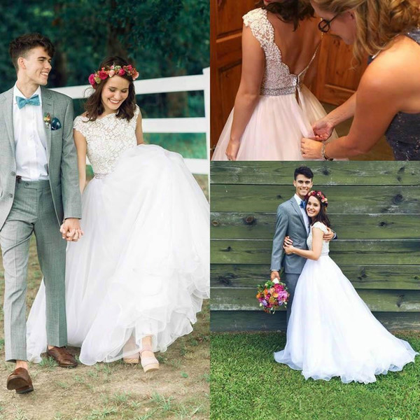 Country Lace Wedding Dresses with Beaded Belt 2018 Modest Jewel Low Back Tulle Skirt Cap Sleeve Outdoor Farm Garden Boho Bridal Dress