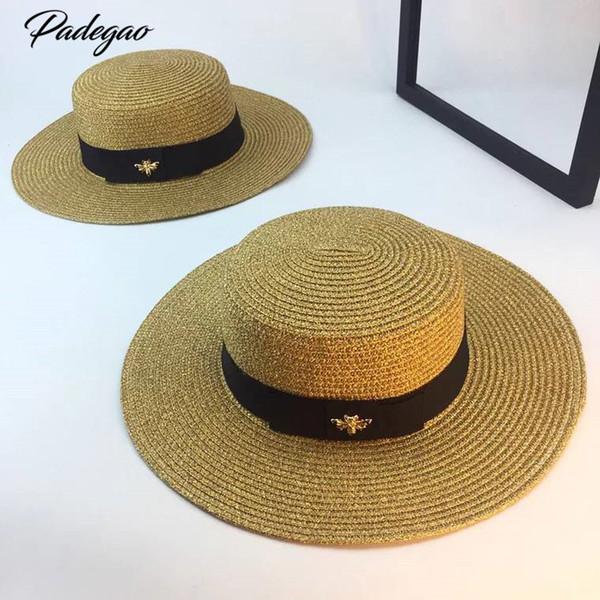Printemps et été nouveau chapeau d'or de chapeau de paille tressé à la tête de dame rétro dame large avant-toit crème solaire chapeau chapeau d'été S18101708