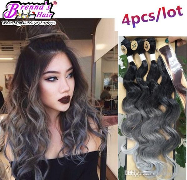 Syntehtic natural curly wave hair bundles Brazilian body wave sexay hair ombre color purple pink grey pink blue with closure african hair