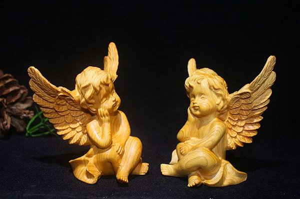 Thuya bois sculpture ange bois artisanat Thuja bois Art décoration cadeau Collection