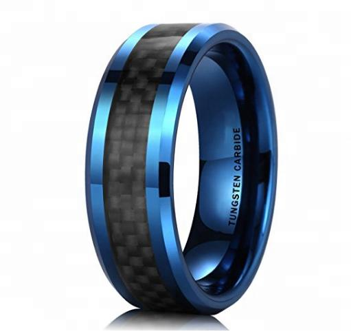 New Arrival Carbon Fiber Inlay Blue Tungsten Steel Rings for Men wedding jewlery