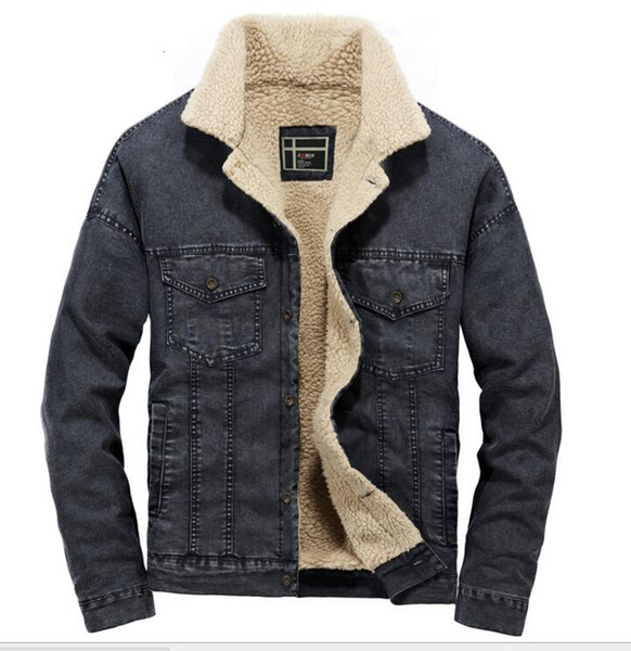 Autumn and winter men's Korean denim jacket thickening imitation lamb plush cotton coat cotton jacket