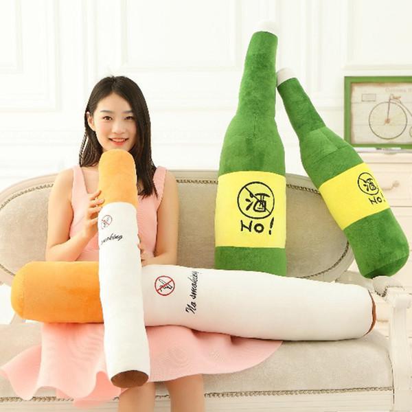 Cool 70/90/110cm Smoking or drinking cylindrical sleeping plush pillow for Boyfriend birthday gift smoking cessation temper pillow