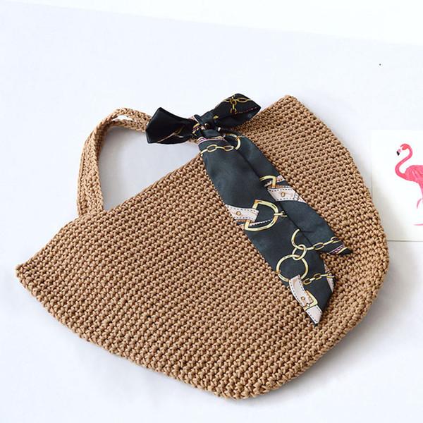 Fresh Bow Ribbon Ladies Women's Handbags Summer Straw Weave Totes Big Beach Shopping Baby Bags with Scarf Retro Style Sac BA218