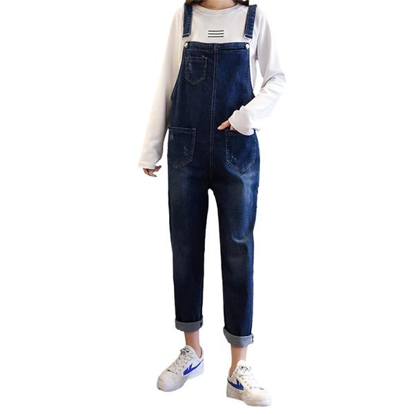 2018 Fashion Women Denim Overalls High Waist Straps Jumpsuit Female Girl Loose Jeans Pants